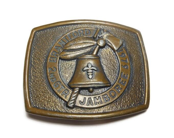 FREE SHIPPING Boy Scout buckle - 1979 Brantford 2nd GTR Jamboree Belt Buckle, Brantford, Canada, brass buckle vintage