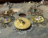 Stamped Filigree and Antique Gear Steampunk Necklace - Vintage Components - Cosplay, Conventions, Steampunk Weddings, Gift for Cool Women