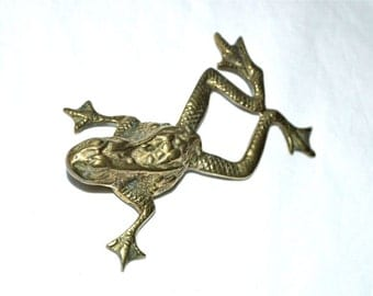 Brass Frog Went A'Courtin' with Splayed Toes and Personality 1960s