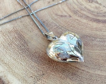 Sterling puffy heart necklace sunflower flower engraved Vintage Fine Jewelry Gift for her