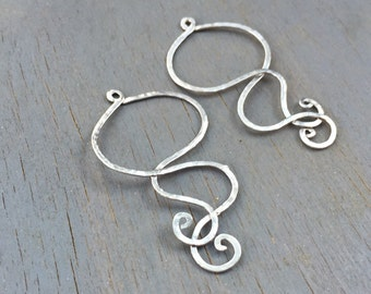 Jewelry Findings Hammered Silver Wire Pendants Swirls Earring Necklace Design DIY Supplies