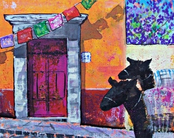 "Painting of celebration flags trees in bloom and donkeys in San Miguel de Allende Mexican town original art acrylic on board 11 ""x 14"""