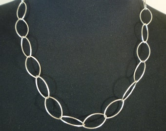 STERLING SILVER Large Link Oval Chain Sundance Style Necklace 925
