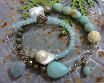 AVENTURINE  sundance style boho sterling  stack  bracelet gemstone