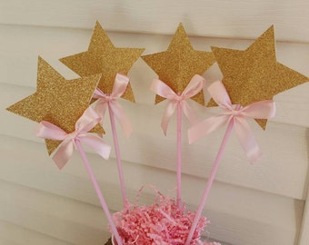4 Gold glitter sparkly star wand, party centerpiece, photo prop, party favors.