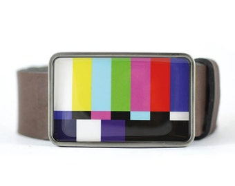 Color Bars Belt buckle TV Test Pattern Belt Buckle  for men gift for him mens belt buckle  Television Belt Buckle Retro Belt Buckle