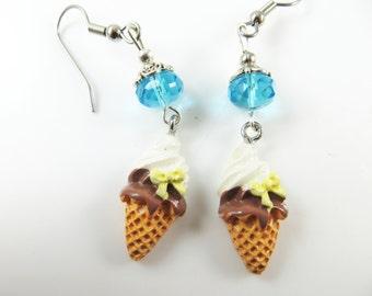 Girls vanilla and chocolate ice cream cone earrings
