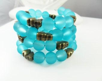 Clearance - Blue double heart wrap bracelet