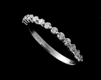 14k White Gold Delicate Shared Prongs Diamonds Half Way Wedding Band 1.85mm Wide