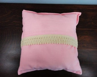 """Pink Pillow with Vintage Lace in Beige - 15"""" Square"""