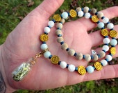 RUE Plant Spirit Vessel Necklace - Rue with Moonstone, Amazonite, Gold Hematite Roses, & Sandalwood - herbal magick