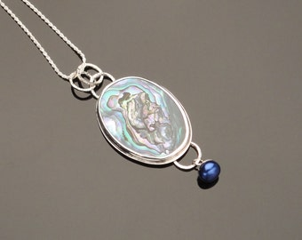 Abalone and Fresh Water Pearl in sterling silver necklace
