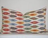 Schumacher - Sunara IKAT In Spice - 12x20 - Decorative Pillow Cover - Blue - Red - Orange