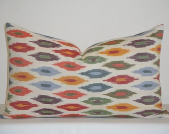 Schumacher - Sunara IKAT In Spice - 12x20 - Decorative Pillow Cover - Blue - Red - Orange