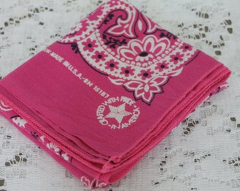 Vintage Bandana Pink Cotton Made in USA Rockabilly