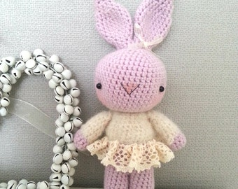 Classic rabbit named Jessica, artist bear, collectible, OOAK, fluffy, crochet, amigurumi, kawaii, plushie, stuffed animal, collectible