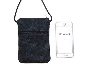 Cell Phone Purse, Cross Body Hipster, Small Purse Gray on Black