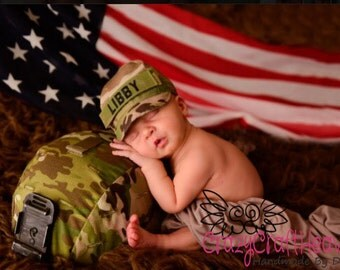 Personalized military cap, Infant Military cap, Army, Navy, Air Force, Marines