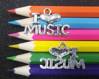 3 PCS - I Love Heart Music Silver Charm Pendant C1318