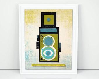 Twin Lens Reflex Wood Block screen print