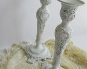 Candle Sticks Holders Ornate Creamy White Rococo French Romantic Wedding Shabby Cottage Style