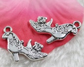 6 Shoe Charms Double-Sided Antique Silver Tone 20 x 19 mm - ts1018