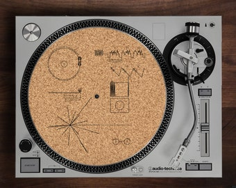 Turntable Slipmat - Voyager Spacecraft Record Engraving Engraved Cork turntable slipmat with Reversable fabric Back