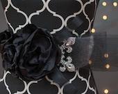 Bridal Sash -White bridal sash with black satin bloom, rhinestone accents & horse hair detailing
