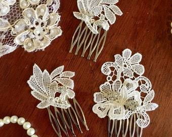 Vintage Wedding/Wedding/Wedding Hair Comb/Hair Accessories/Wedding/ Decorative comb/Hair Piece/Comb Set/Wedding/Comb/Lace Comb