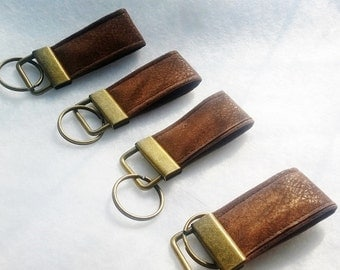 Brown Faux Swede ~ Men's Key Fob ~ Fabric Key Chain ~ All Occasion Gift