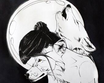 Wolf-Woman Familiar Print