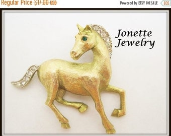 Horse Brooch - Signed JJ - Rhinestone Mane Tail Eye  - Brushed Gold Tone Pin