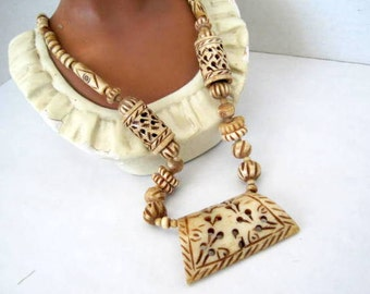 Carved Bone Necklace Tribal Boho Style