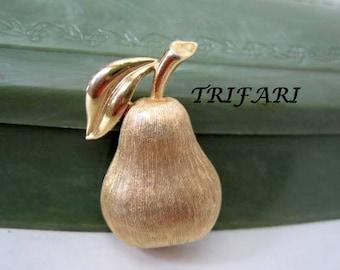 TRIFARI Pear Brooch Brushed Gold Tone Pin