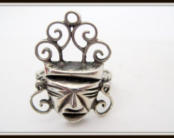 Mayan Mask Ring -  Sterling Tribal Face - Vintage Ring - Size 6