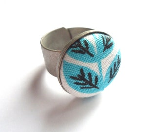 Adjustable Ring, Metal Ring, Antique Silver Ring, Teal Ring, Leaf Ring, Fabric Button Ring, Modern Ring, Modern Jewelry, Gift For Her