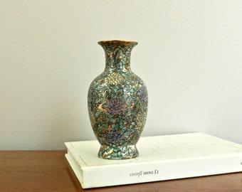 Small Vintage Asian Vase Japanese Porcelain Ware Bud Vase Flower Vase Gold Floral Design