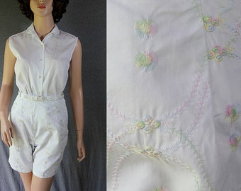60s Jamaica Short Set White Embroidered Blouse Belt Deadstock