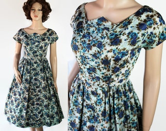 50s Dress / Candy Jrs. / Rockabilly / Blue Watercolor / Fit and Flare / Circle Skirt