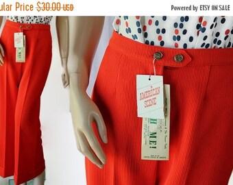 ON SALE 70s Wide Leg Pants / Bell Bottoms / Orange / Deadstock / American Scene