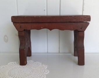 Small Vintage Bench Farmhouse Style Primative Brown