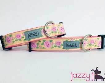Pale Pink Glitter Roses Dog Collar