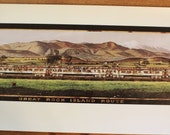 "RARE Large Lithograph Reproduction Print of famous Rock Island Lines' eight foot long ""Pearl Train"" picture- 48 by 13 inches"