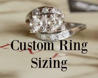Custom Ring Sizing Resizing 1 to 2 Sizes Up or Down