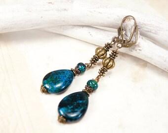Brass Chrysocolla earrings Long teardrop brass earrings