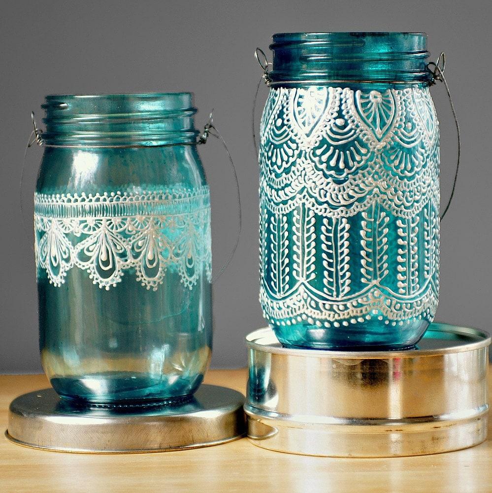hand painted mason jar moroccan lantern ocean blue by litdecor