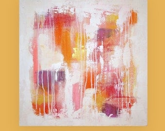 art & collectibles, Paintings,  Acrylic Abstract Painting  Original Ora Birenbaum Titled: Sweet Kiss 24x24x1.5""