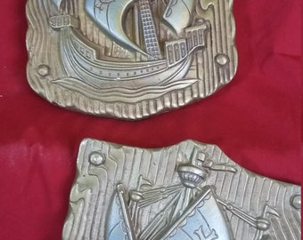 1970 Ships Sailing Wall Hangings Ceramic Miller Studio, Inc. 3D Art Deco
