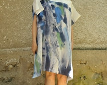 Abstract hand painted silk tunic/Painting casual silk top/Silk 100%/Woman Luxury silk tunic/Summer day loose tunic/Beach coverup /T1475