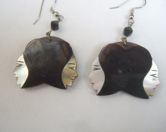 Exotic Carved Mother of Pearl & Antler Figural Women Earrings